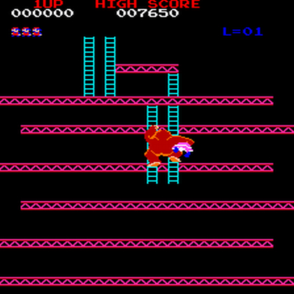 Donkey Kong escaping with Pauline.