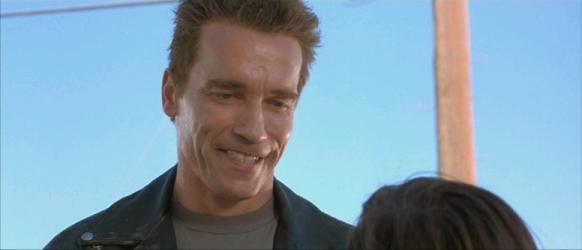 The Terminator smiles.