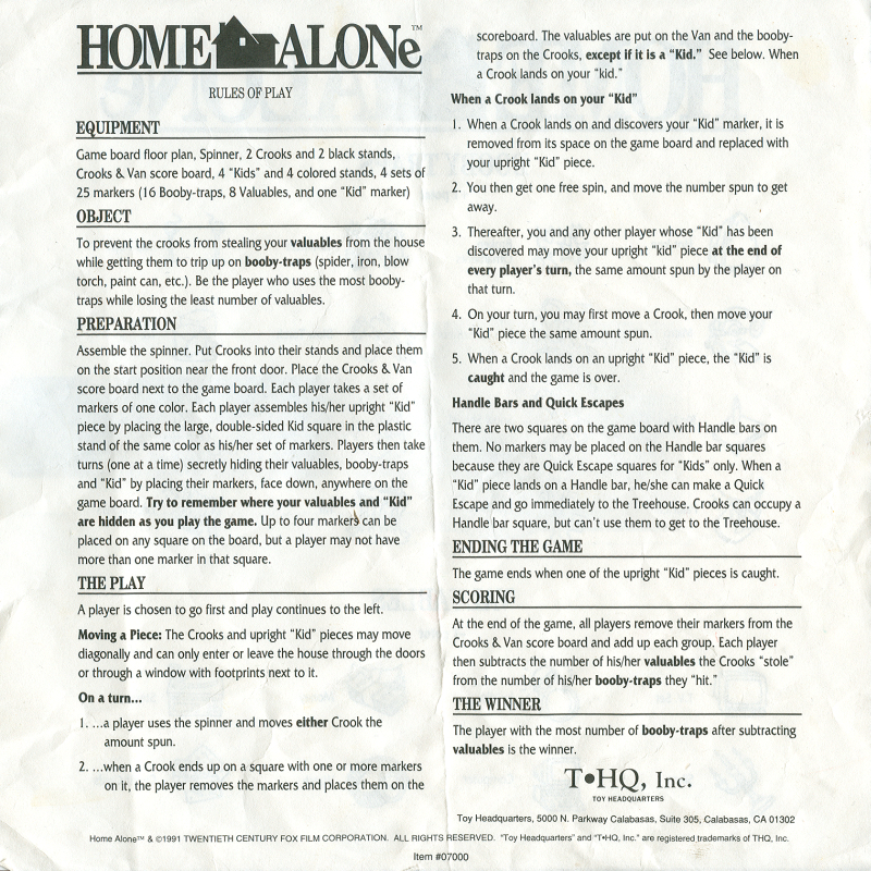 Sydlexia Complete Instructions For Home Alone The Game